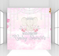 HUAYI Custom Elephant Girl baby shower Backdrop photophone candy table Pearl floral crown pink theme birthday photo background