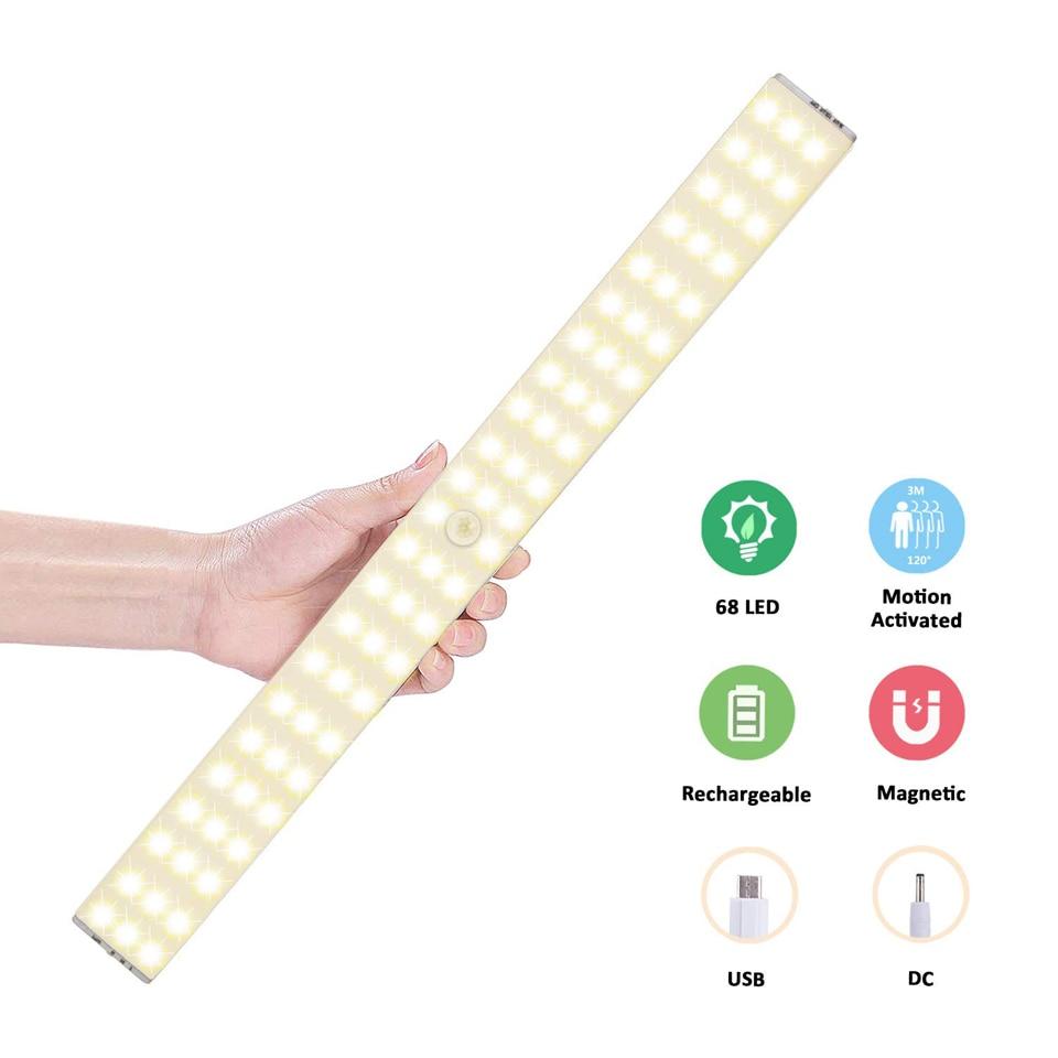 LED Closet Light Rechargeable 68LEDs Motion Sensor Under Cabinet Lights Wireless 1500mAh Battery Night Lamp for Kitchen Hallway