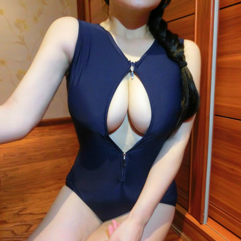 New Hot Sexy High Quality Two Zipper Japanese Sukumizu School Swimsuit One Pieces Swimsuit Women Slimming Bathing Suit With Pad
