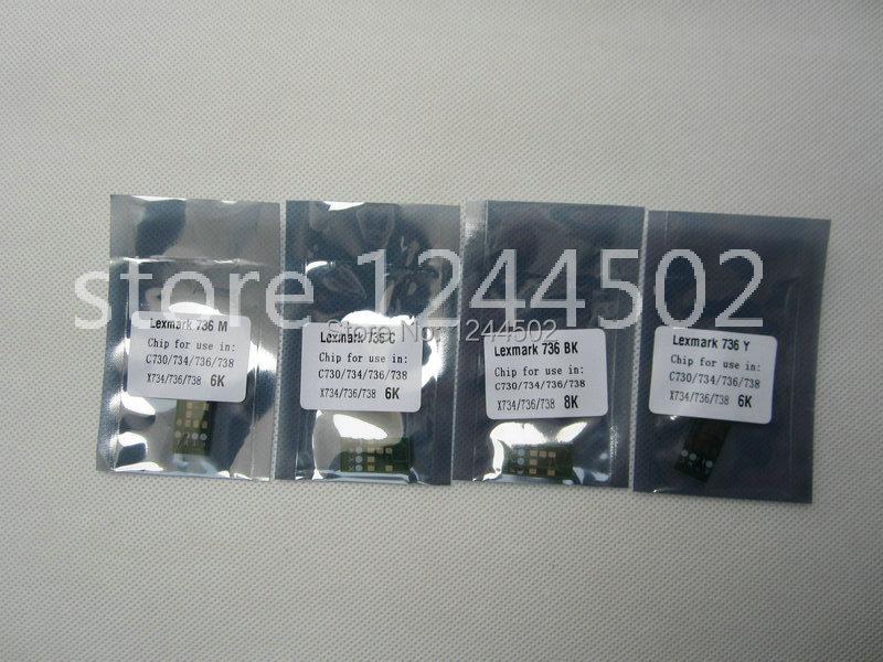 ФОТО Compatible new toner cartridge reset chip for Lexmark C736 4 color per set 2 sets per lot