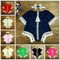 2017 de verano de europa estilo de los bebés del algodón del cordón del vintage de manga corta del mameluco con borla niños mono niños ropa