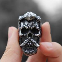 Mens Bearded Skull Ring Stainless Steel Jewelry Punk Biker Rings for Men Gift