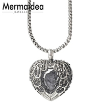 European Silver Necklace Link Chain Pave Wings Feather Crystal Heart Necklaces Pendants Trendy Pendant Women Necklace Collares