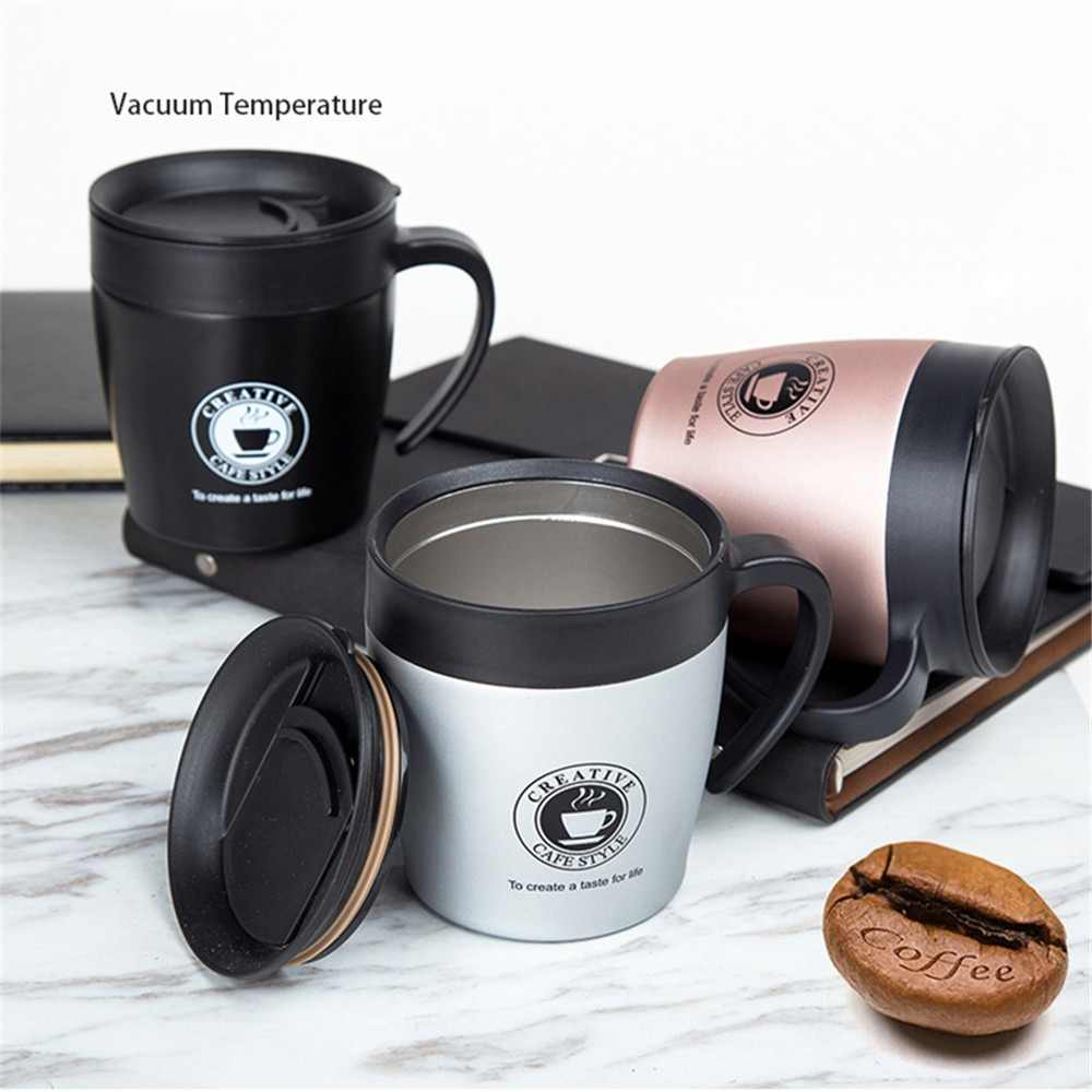 Handle Coffee Mug Stainless Steel Thermos Cups Vacuum Flask thermo Water Bottle Adult Bussiness Men Tea Portable Thermocup 330ML