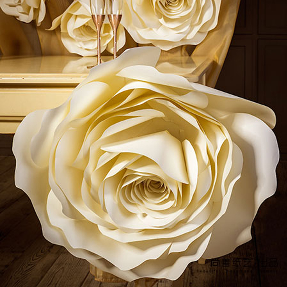 15pcs Ivory Rose Giant Paper Flower Setlarge Flower Big Paper