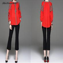 2017 Women Embroidered Chiffon Blouses With Belt Collar Cotton Loose Red Women's Shirt Summer Fashion Chinese Style Clothing