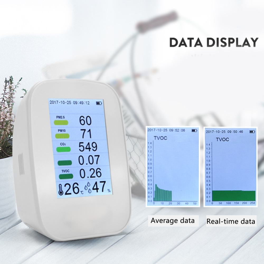 LCD Air Quality Monitor Detector Indoor Outdoor Digital PM2.5 TVOC Tester Gas Monitor Instrument Meter Gas AnalyzerLCD Air Quality Monitor Detector Indoor Outdoor Digital PM2.5 TVOC Tester Gas Monitor Instrument Meter Gas Analyzer