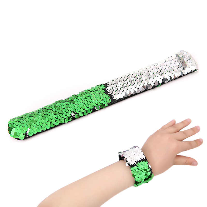 Hot Selling Double Colors Sequin Slap Bracelets Wristband Party Wrist Strap Kids Children Holiday Beach Party
