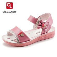 2017 New Summer Style Children Sandals Girls Princess Shoes Kids Bowknot Flat Sandals Baby Shoes Girl Shoes Party Tide Sneakers