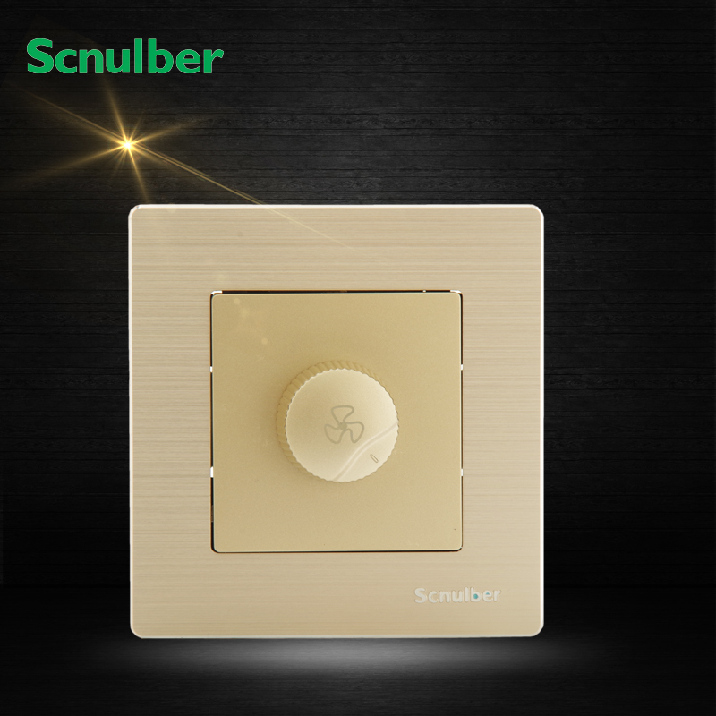 luxury champagne metal hairline finish dimmer changeover wall fan regulator switch 660v ui 10a ith 8 terminals rotary cam universal changeover combination switch