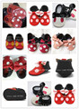New fashion Genuine Leather fringe bow polka dot Baby Moccasins Mickey and Minnie Baby Shoes First Walker  newborn baby shoes