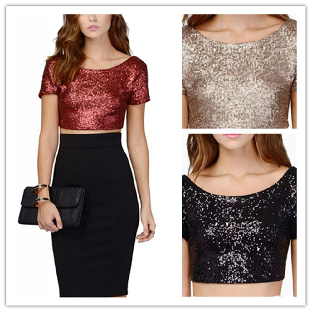 2018 Fashion Women Street Wear Backless Nude T-Shirt Lady Women T Shirts Sequin Sparkle Bling Glitter Party Crop Tops Tees