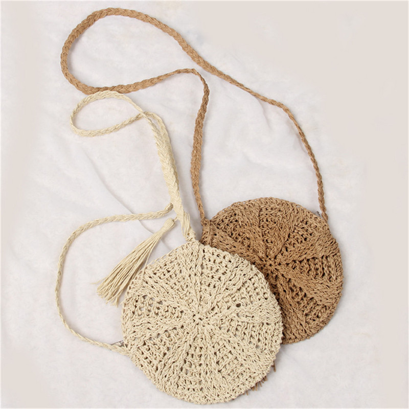 2019 Summer New Women Tassels Round Crossbody Shoulder Bag Beach Circular Rattan Wicker Straw Woven Basket Tote Bag Straw Bags