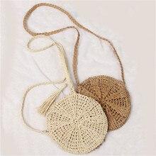 цены 2019 Summer New Women Tassels Round Crossbody Shoulder Bag Beach Circular Rattan Wicker Straw Woven Basket Tote bag Straw Bags