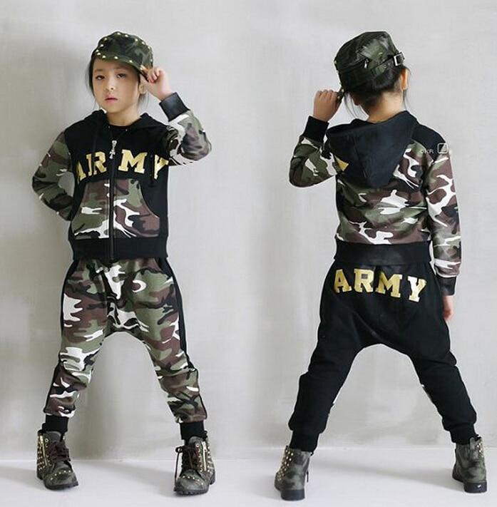 2015 Spring Autumn children's clothing set Costumes kids sport suits ARMY Camouflage patchwork Hip Hop dance pants & sweatshirt