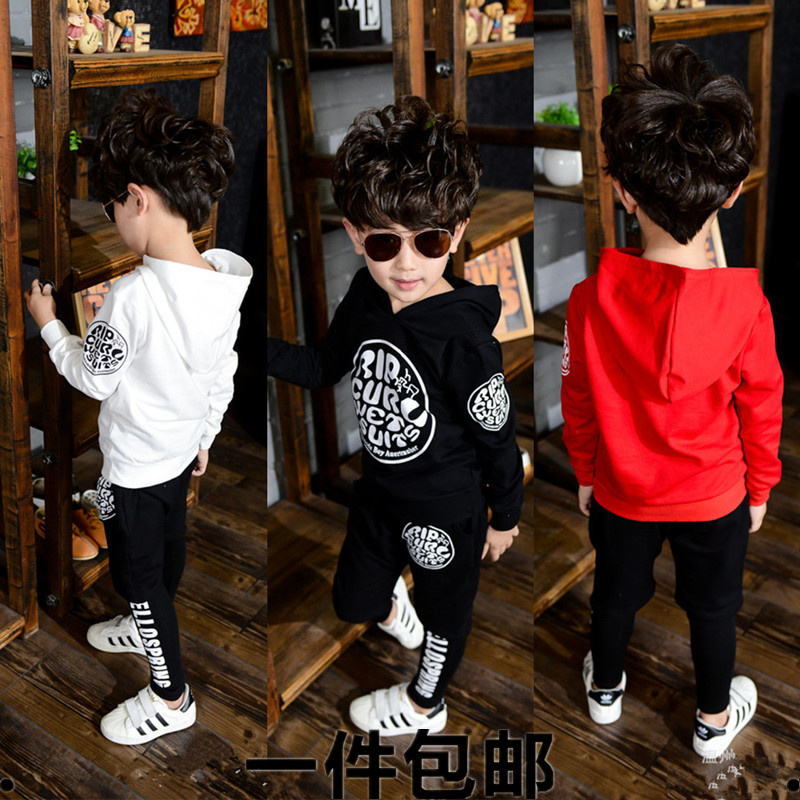 цены  Child set 2016 children's clothing male female child with a hood sweatshirt twinset baby autumn long-sleeve set