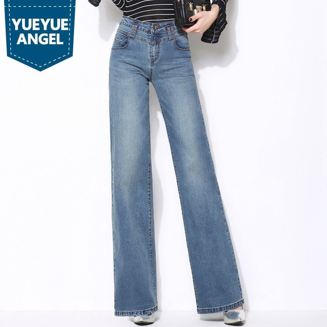 6f3837143202f5 Autumn Chic Denim Wide Leg Pants Full Length High Waist Loose Fit Womens  Jeans Plus Size Sexy Flare Pants Retro Pantalon Femme