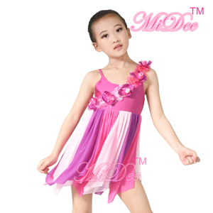 MiDee Elegant Lyrica Dance Costumes Contemporary Dresses One Shoulder Floral Trims Over Bust Dance Clothes Dancewear