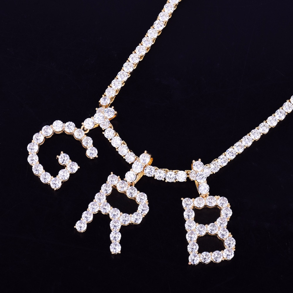 Image 5 - Zircon Tennis Letters Necklaces & Pendant For Men/Women Gold Silver Color Fashion Hip Hop Jewelry with 4mm Tennis Chain-in Chain Necklaces from Jewelry & Accessories