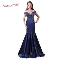 NIXUANYUAN Real Photos Navy Blue Stain Formal Gowns Beading Sweetheart Mermaid Evening Dress 2017 Long vestidos de noite Sexy