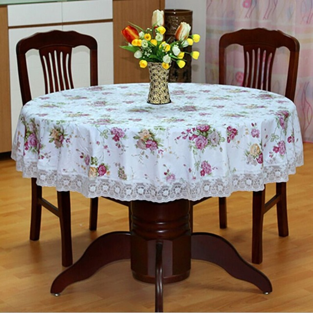 Pastoral Pvc Round Table Cloth Oilproof Floral Printed Lace Edge