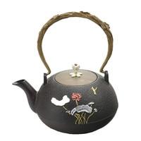 1L New Cast Iron Teapot Southern Japanese Kung Fu Kettle Silver Lotus Tea Pot