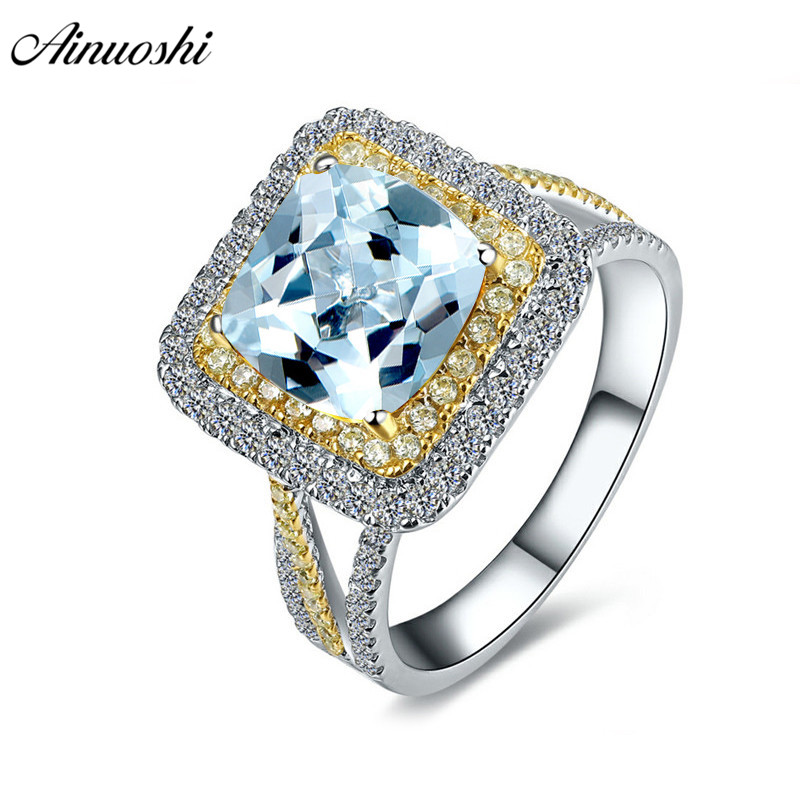 AINUOSHI 2.5 Carat Yellow Color Halo Ring Pure 925 Silver Blue Topaz Square Ring Women Engagement Wedding Anniversary Jewelry punk style pure color hollow out ring for women