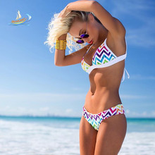 2016 Women Bra Set swimwear  Beach Summer Dress Brazilian Swim Suit String Strippy bikini trikini Patchwork swimsuit girl