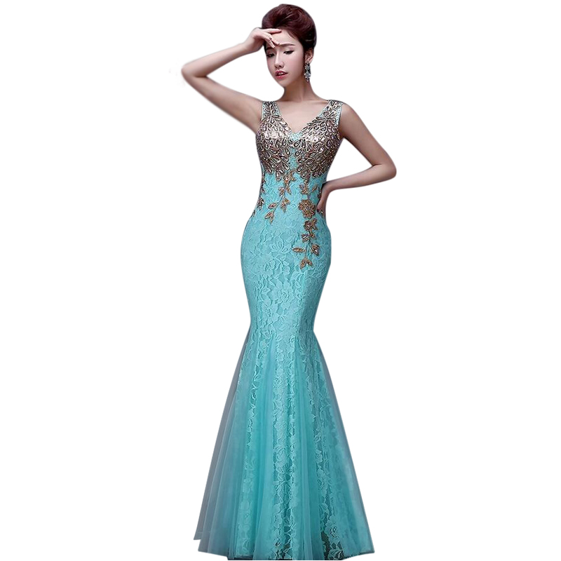 Elegant Embroidery Lace Mermaid Bridesmaid Dresses 2017 Floor length ...