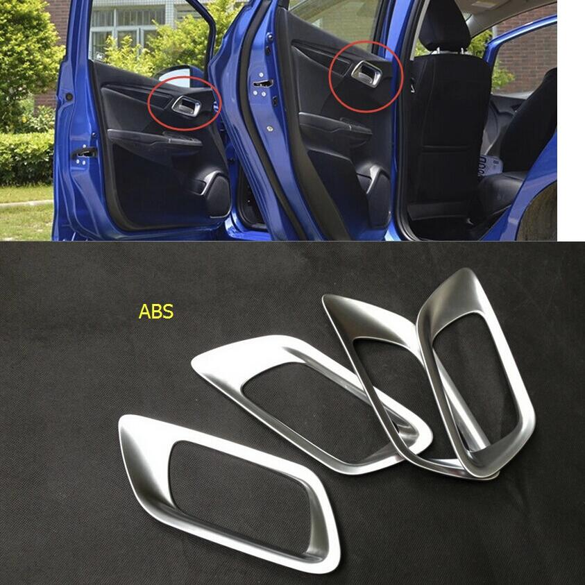 Yimaautotrims Inner Car Door Handle Bowl Cover Trim <font><b>Fit</b></font> For <font><b>Honda</b></font> <font><b>FIT</b></font> JAZZ 2014 <font><b>2015</b></font> <font><b>2016</b></font> 2017 2018 Matte Interior Kit image