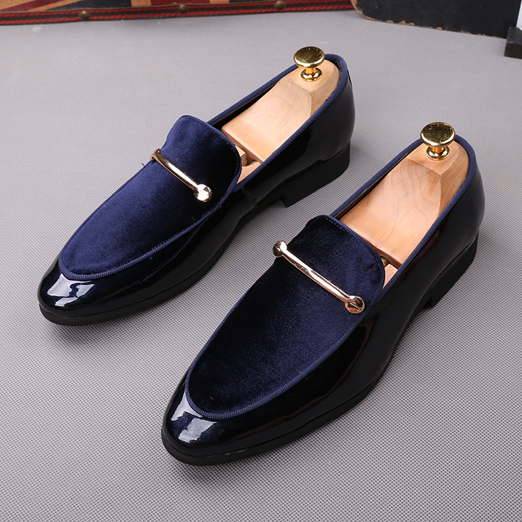 2018 men slip on formal shoes soft leather +black blue cotton Oxfords Dress wedding wingtip Brish style Loafers shoes 41