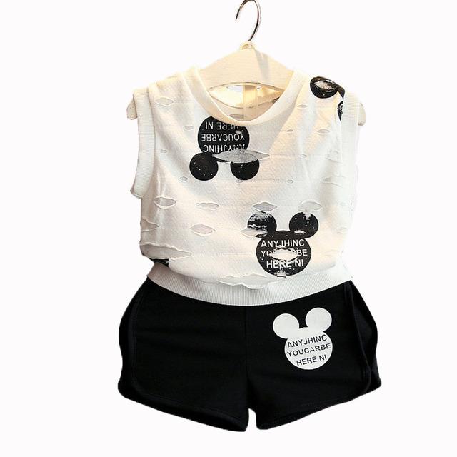 Roupas de verão 2017 meninas esporte terno minnie impresso criança crianças definir t-shirt + calça princesa dress para festa e casamento