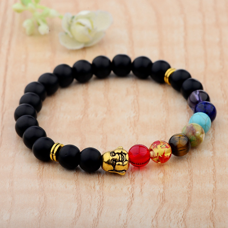 Amader New 7 Chakra Buddha Bracelets For Women 8MM Matte Healing Balance Prayer Yoga Bracelet Energy Men Unisex AB204