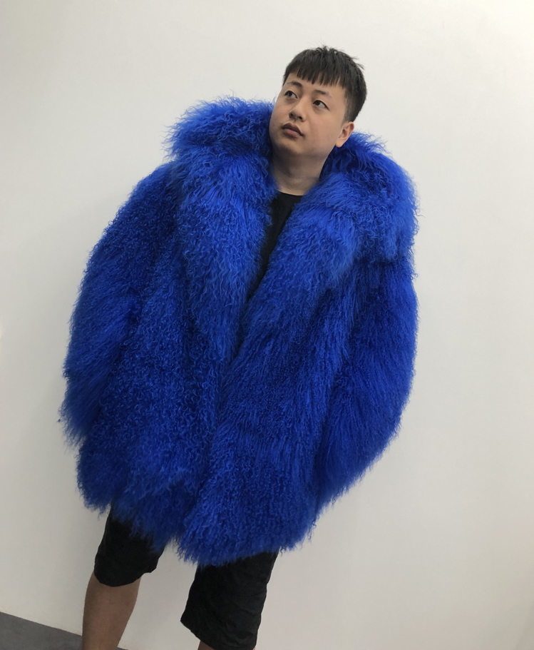 HTB1i1zXXKH2gK0jSZFEq6AqMpXaV 2019 Men's real mongolian sheep fur coat hooded warm winter outerwear lapel beach wool fur overcoat long sleeve Jacket
