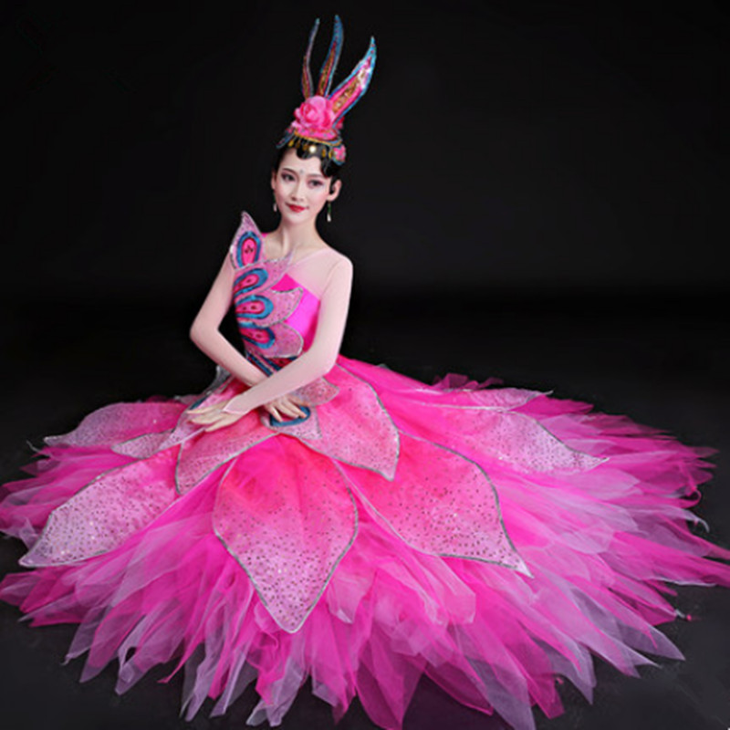 US $90.39 13% OFF|Różowy nowoczesne kwiat sukienka do tańca dla kobiet piękne kostiumy do tańca festiwal taniec odzież nowy rok tancerz taniec ubrania
