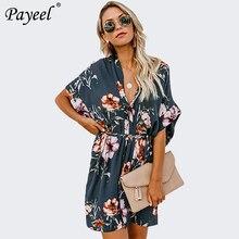 цена на Women Summer Dress Casual V Neck Dresses Woman Vacation Elegant Dress Short Sleeves Slim Floral Print Sundress With Belt 2019