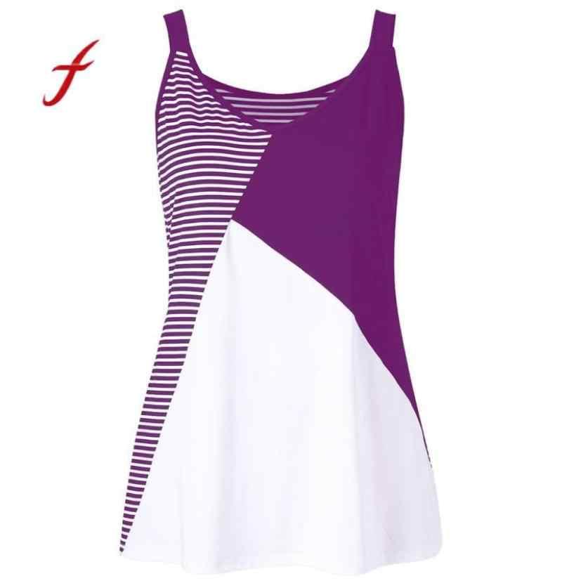 Fashion Women Plus Size Stripe Patchwork Large Tank Top Vest O-Neck T-Shirt 49107ab3383c