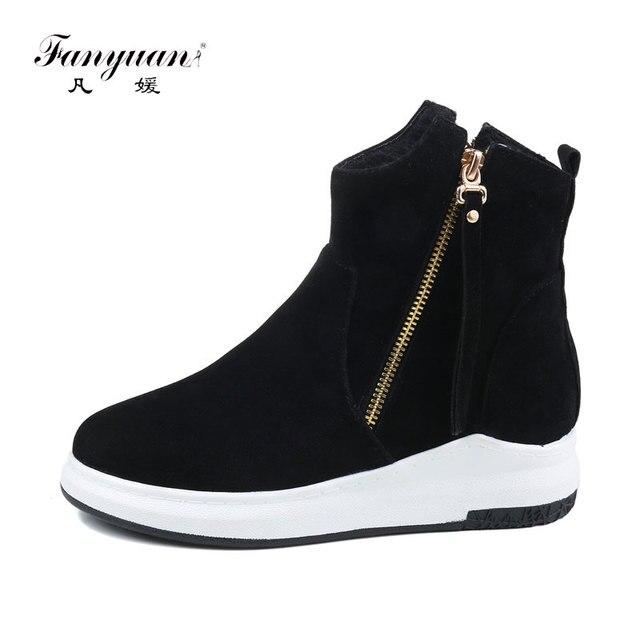 917ec8b347c8d fanyuan Fashion Solid Flat Platform Ankle Boots Winter warm Women Boots  Double Zipper Short Plush Martin boots Botas de mujer