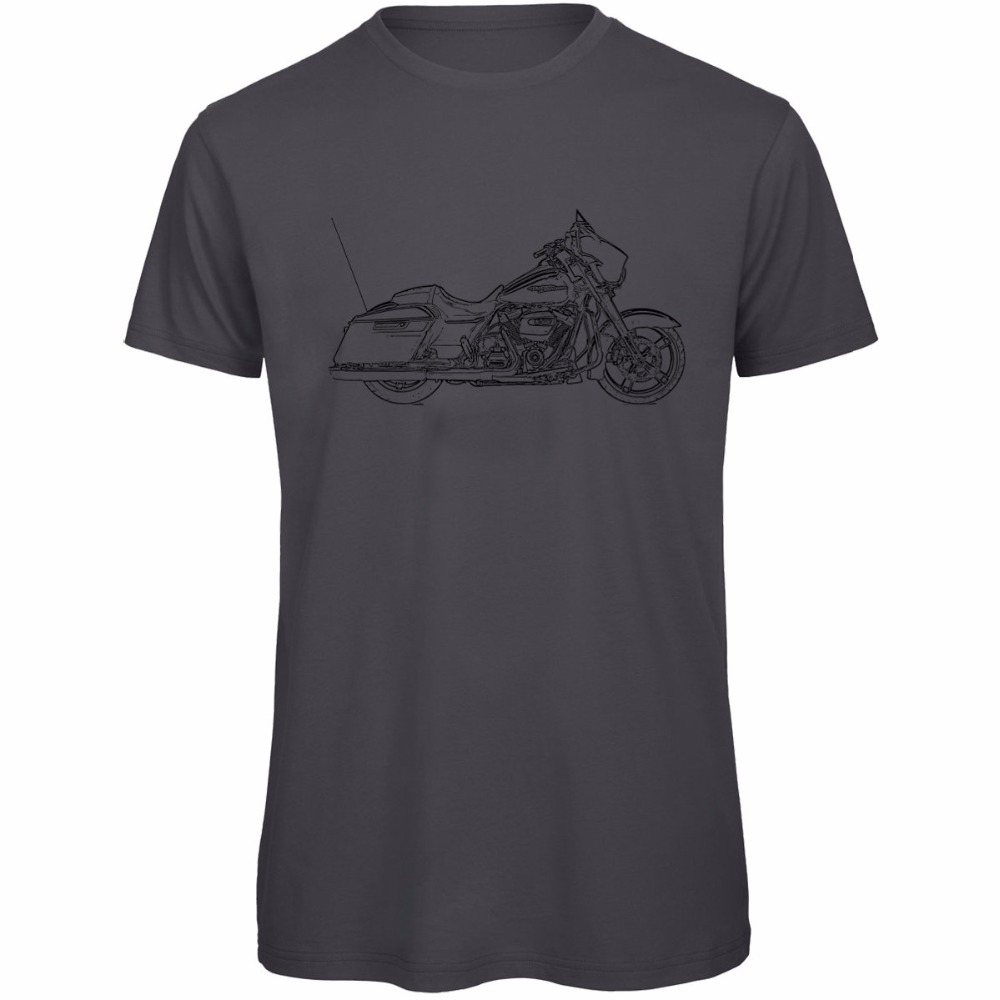 2018 Hot Sale 100% cotton Custom Printed Personalized T-Shirts Fashion Street Glide Inspired Motorcycle Art Mens Tee Shirts