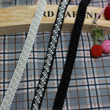 3Yards/lot White/Black Pearl Beaded Embroidered Rhinestones Applique Braided Lace Ribbon Trim 5-121