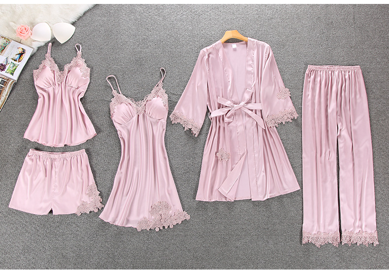 HTB1i2.ULMHqK1RjSZFEq6AGMXXa2 - QWEEK Sexy Women Pajamas 5 Pieces Sets Satin Sleepwear Pijama Silk Home Wear Embroidery Sleep Lounge Pyjama with Chest Pads