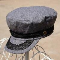Mezcla De Algodón caliente Unisex Army Navy Casquillo Del Capitán Sombrero Militar Sombrero
