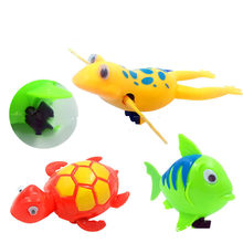 Kids Bathroom Toys Cartoon Cute Animal Turtle Frog Baby Infant Bath Toy Swimming Turtle Watch Chain Wind Toys(China)