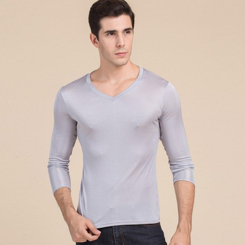 Camisa de Seda Blusa de Código Masculina Dupla Malha Colarinho Manga Comprida 100% Real Silk Cabolsa Masculino Grande v