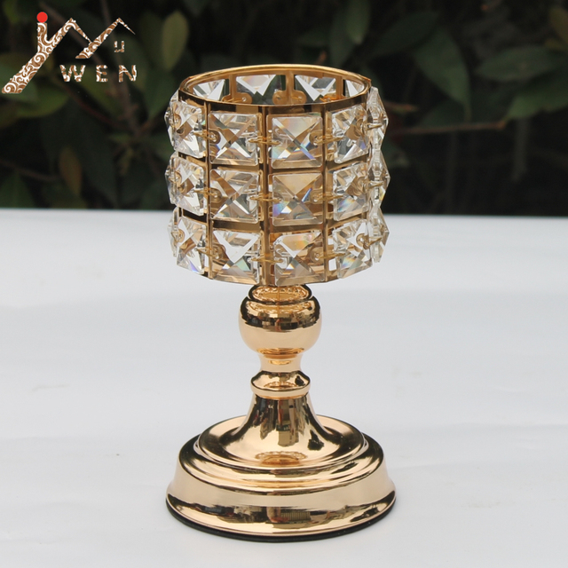 Classic Crystals Candle Holder Metal Golden Candelabra Wedding Centerpiece Home Decoration Candlesticks 1 Lot = 2 pcs