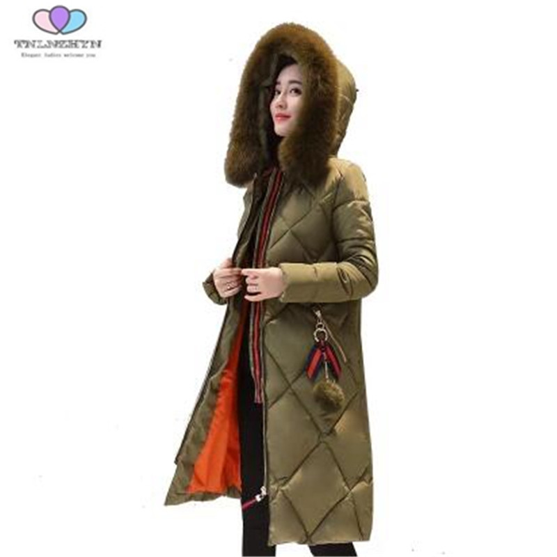 2017 New Winter Women Coat Fashion Warm Fur Collar Medium Long Down cotton Jacket Thick Hooded Winter Coat E9 TNLNZHY 2017winter women coat warm fashion large fur collar medium long down cotton jacket coat thick large size hooded coats e8 tnlnzhy