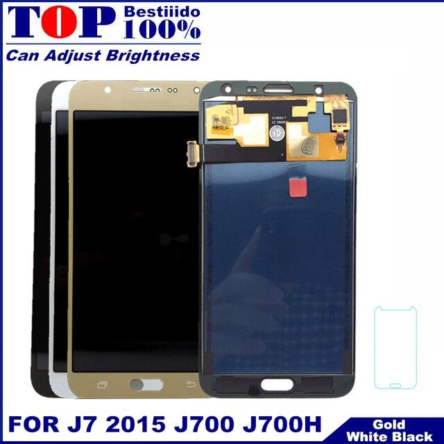 Prueba de Control de brillo de pantalla para Samsung Galaxy J7 2015 J700 J700F J700H pantalla táctil digitalizador Asamblea reemplazo LCD