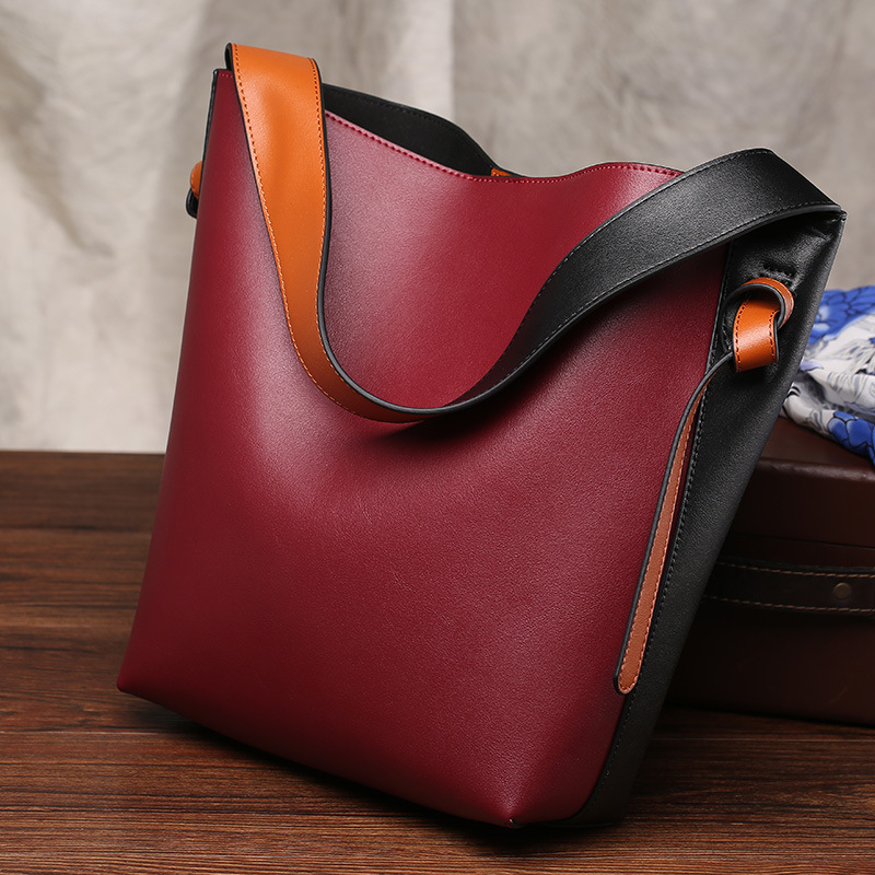 Women Casual Cow Leather Bags Patchwork Panelled Designer Bucket Handbags Casual Tote Genuine Leather Handbag Lady Shoulder Bag [whorse] new casual tote patchwork designer brand women genuine leather handbags open bucket shoulder bag messenger bags w0754