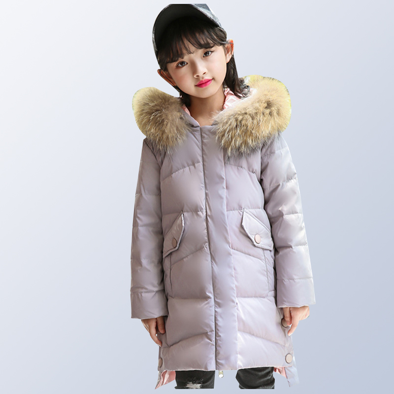 6 8 10 12 14 Years Girls Winter Down Jacket 80% White Duck Down for -30 degree Winter long thicken fashion children's outerwear 10 6 oz 300g ginseng 6 years roots extract 80