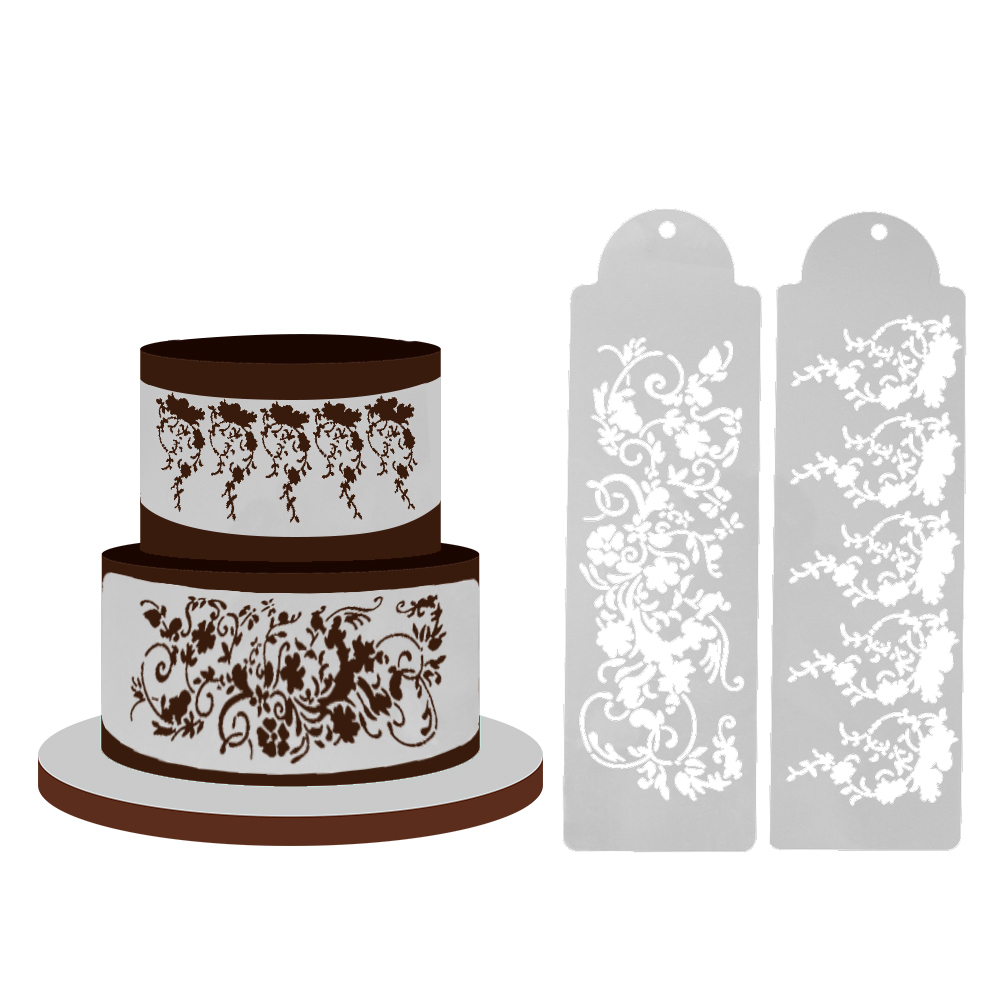 wedding cake making tools 2pcs set plastic cake stencil cake decoration sugar sieve 23218